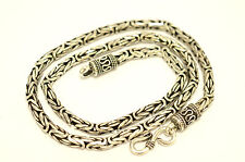 """925 Sterling Silver Bali Chain / Byzantine Necklace,44 grams, 4 mm,46 cm/18"""""""