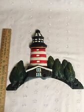 "8""T X 9.5"" wide Metal Cast Iron Small LightHouse Welcome Door Wall Sign Plaque"