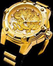 New Invicta Men Dragon Speedway Automatic 18K Gold Plated Black 24 Jewel Watch