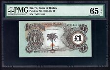 New listing 1968-1969 Biafra 1 Pound Note Pick #5a (Pmg 65 Epq Gem Uncirculated) (2540)