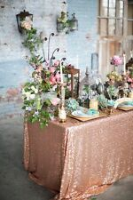"""6ft Table 90""""x132"""" Rose Gold Sparkly Sequin Tablecloth for Wedding"""