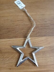 Nordic style silver metal christmas hanging star