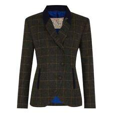 Tweed Patternless Blazer Button Coats & Jackets for Women