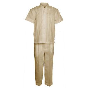 Boys Khaki 100% Linen Set Guayabera Pleat Embroidered Shirt & Pant Size 4 to 18