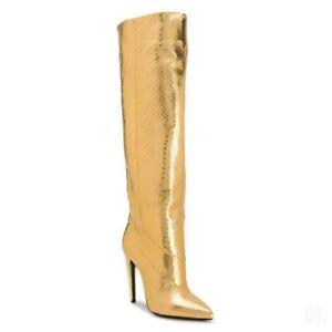 Runway Gold Blink Knee High Pointed Toe Stilettos Heel Boots Runway Women 34-46