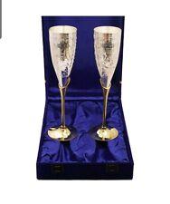 Indian Art Villa Siver Plated Goblet Flute Wine Glasses-100ml Each-Set of 2