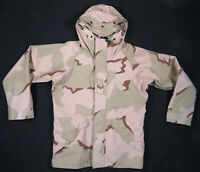 Military Issue Gore-Tex Desert Camo Cold Weather Hooded Parka Jacket M Long