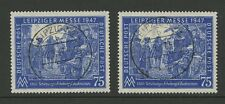 GERMANY 1947 LEIPZIG FAIR 75c FIRST DAY of ISSUE VFU...2 stamps