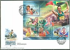 MOZAMBIQUE 2012  LONDON PARALYMPICS  CYCLING RUNNING TENNIS SHEET FDC