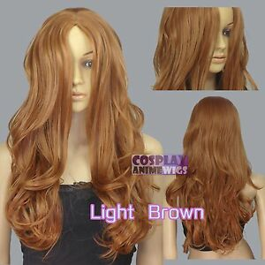 60cm Light Brown Heat Styleable No Bang Curly wavy Cosplay Wigs 38_LLB