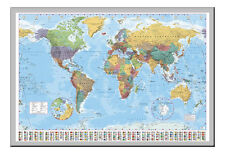 World Map Poster With Country Flags Silver Framed Ready To Hang Frame Free P&P