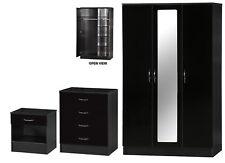 Modern Alpha Black Two Tone Bedroom Set 3 Door Mirrored Wardrobe Chest Bedside
