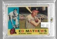 Ed Mathews 1960 Topps vintage baseball card -- Braves