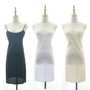 Womens Chiffon Strappy Full Slip Slim Dress Long Tops Petticoat Chemise Nighties