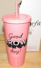 Benefit Cosmetics Brows Funky Cup Pink Iced Coffee Drink Straw Cold Tumbler New