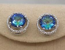 18K White Gold Filled - Round Blue MYSTICAL Topaz Hollow Cocktail Stud Earrings