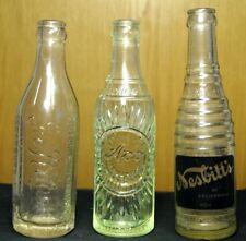 Vintage Antique Embossed Soda Cola Glass Bottles Ritter's Aco Nesbitts