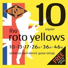 Rotosound R10 Roto Yellows Regular Electric Guitar Strings (10-46) + Picks