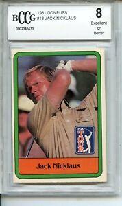 1981 Donruss #13 Jack Nicklaus Rookie Card BGS BCCG 8