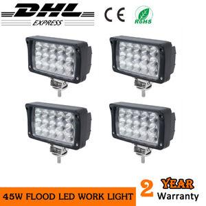 4Pcs 45W Square LED WORK LIGHT Excavator ATV Boat Tractor Flood SUV 4WD Fog Lamp