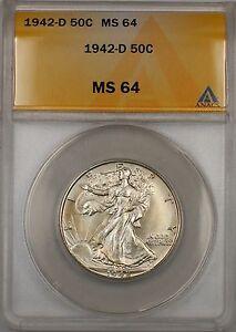 1942-D Walking Liberty Silver Half Dollar 50c ANACS MS 64 (Better Coin)