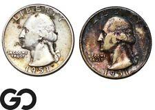 1951-P,D Washington Quarter, 2-Coin 90% Silver Lot