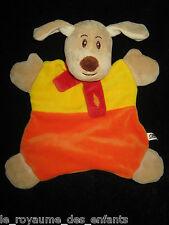 Doudou plat Chien CA Crédit Agricole marron beige, orange, jaune et rouge 26 cm