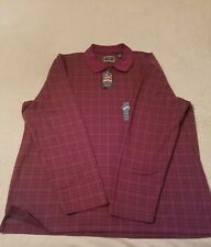 Men's Arrow Burgundy Polo heritage knits long sleeve shirt size 2XLarge NWT