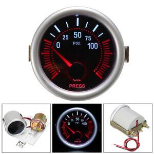 "Universal 2"" 52mm Oil Press Pressure Gauge Pointer Auto Smoke Len LED PSI Meter"
