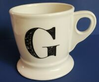 "Anthropologie Monogram Mug ""G"" Letter Coffee Cup White Black Shaving Style Gift"