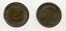 DRITTES REICH 1936 E - 2 Reichspfennig in Kupfer, vz++ ÄHREN