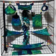 Blue Green Tie Dye *15 PC Sugar Glider Cage set * Rat * double layer Fleece