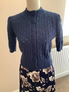 """Hand Knitted Lady's 1940s 1950s Vintage Style Cardigan-36/38"""" Airforce Blue"""