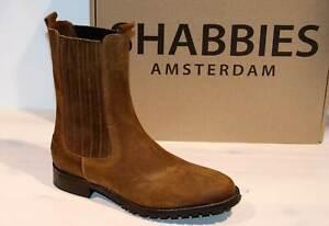 SHABBIES AMSTERDAM Chelsea Boots Stiefel Leder Wildleder Brown Vintage- Neu&OVP!