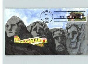 Hand Painted by Cover Scape, pic MOUNT RUSHMORE/ Airplane, SOUTH DAKOTA FDC