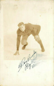 RPPC Postcard College Football Player Everett WA Signed Portrait 1920's-30's