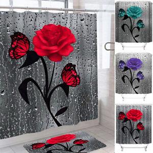 Home Room Waterproof Long Shower Curtain Flower Polyester Fabric Bathroom Decor