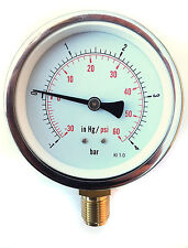 Compound pressure / vacuum gauge-1/+4 Bar/PSI 100mm 3/8 BSP  slurry tankers etc