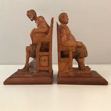 Carved Sandelwood Bookends Don Quixote