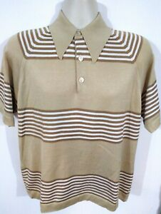VTG RaT PaCK 60's JC PENNEY Colebeta STRIPED KNIT POLO SHIRT men's LARGE atomic