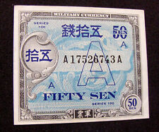 """WW2 US Military Currency for Occupied Japan - Rare """"A"""" Underprint 50 Sen - aUNC"""