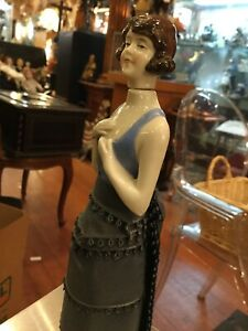 Antique German Porcelain Flapper Girl Half Doll/Perfume Bottle