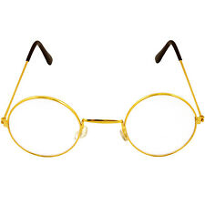 NEW ROUND GOLD FRAME LENS SANTA SUIT FANCY DRESS COSTUME GLASSES SPECS ACCESSORY