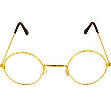 NEW ROUND GOLD FRAME LENS SANTA SUIT FANCY DRESS COSTUME GLASSES SPECS ACCESSORY