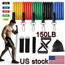 11 PCS Resistance Band Yoga Pilates Abs Exercise Fitness Tube Workout Bands US