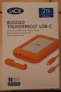 NEW LaCie Rugged Thunderbolt 2TB External Hard Drive USB-C