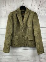 Grace Elements Womens Sz 10 Blazer Jacket Brown/Multi-color Paisley Floral Print