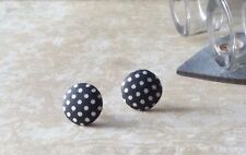 Black & White Polka Dot Retro 40's 50's 60s Style Fabric Stud Earrings Christmas