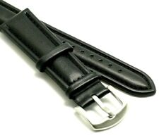 24mm Black Genuine Leather Black Stitched Mens Watch Strap XL Long Fits All 24mm