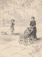 VICTORIAN GIRL PULLING DOLL IN PULL TOY GIRL & DOLL BABY STROLLER ANTIQUE PRINT